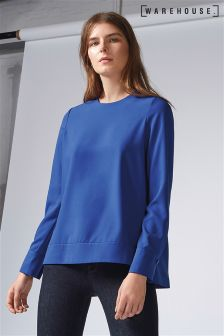 Warehouse Blue Dipped Hem Top