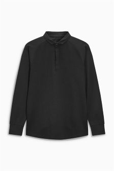 Long Sleeve Textured Polo (3-16yrs)