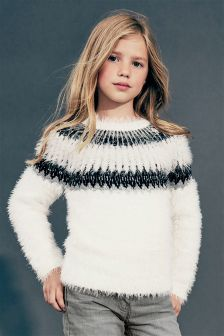 Fairisle Pattern Fluffy Jumper (3-16yrs)