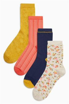 Floral Ankle Socks Four Pack