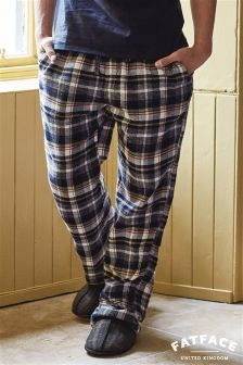 Fat Face Navy Newhaven Check Lounge Pant