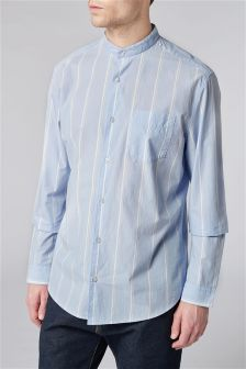 Long Sleeve Stripe Grandad Shirt