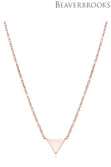Beaverbrooks Silver Rose Gold Plated Delicate Triangle Necklace