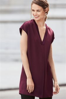 Satin V-Neck Tunic
