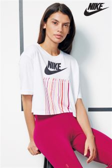 Nike White International Logo Crop Tee