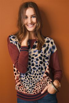 Printed Woven Front Sweater