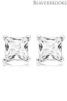 Beaverbrooks Silver Square Cubic Zirconia Stud Earrings