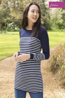 Joules Hetty French Navy Cream Zip Sided Knit Tunic