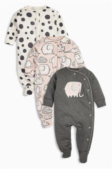 Elephant All Over Print Sleepsuits Three Pack (0mths-2yrs)