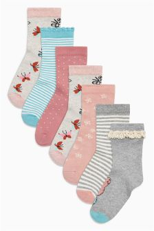 Butterfly Socks Seven Pack (Older Girls)