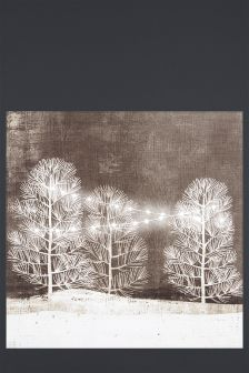 Lit String Lights In Trees Canvas