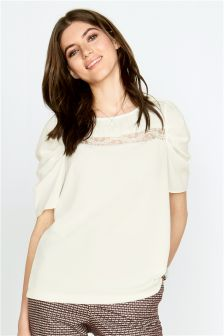 Lace Panel Puff Sleeve T-Shirt