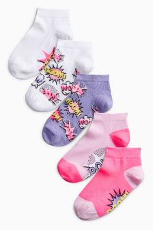 Slogan Socks Five Pack (Older Girls)