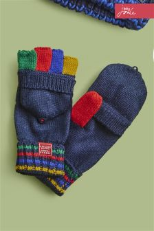 Joules Navy Multi Stripe Mittens