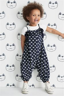 Cat Print Romper (3mths-6yrs)