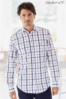 Gant White/Blue Broadcloth Check Shirt