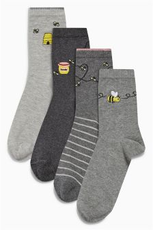 Bee Motif Socks Four Pack