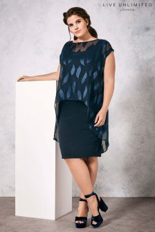 Live Unlimited Navy Jacquard Dress