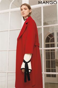 Mango Red Belted Coat