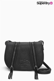 SuperDry Black Zipped Saddle Bag