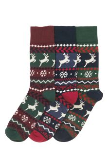 Fairisle Pattern Socks Three Pack