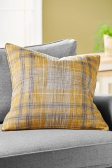 Large Ochre Astley Woven Boucle Check Cushion