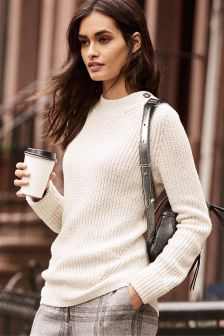 Rib Button Sweater