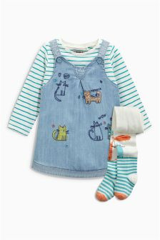 Pinafore, T-Shirt And Tights Set (3mths-6yrs)