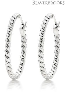 Beaverbrooks Silver Twist Hoop Earrings