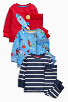 Rockets Snuggle Fit Pyjamas Three Pack (9mths-8yrs)