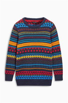 Fairisle Pattern Crew Neck Jumper (3-16yrs)