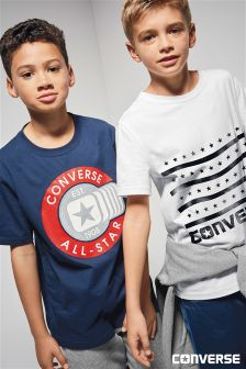 Converse White Stars And Stripes Logo Tee