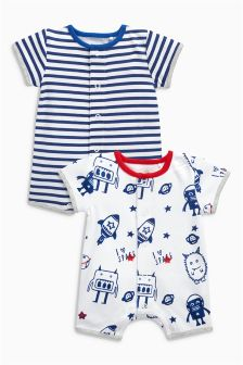 Space Short Leg Rompers Two Pack (0mths-2yrs)