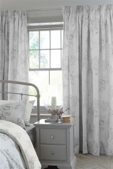 Grey Floral Pencil Pleat Lined Curtains