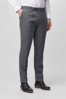 Windowpane Skinny Fit Suit: Trousers