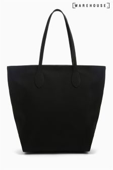 Warehouse Black Grainy Shopper Bag