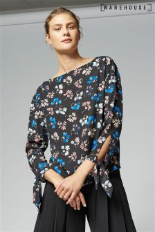 Warehouse Dandy Floral Tie Sleeve Top