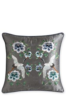 Mirror Floral Embroidery Cushion