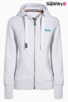 Superdry Ice Marl Orange Label Primary Zip Hoody