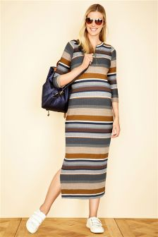 Stripe Rib Bodycon Maternity Dress
