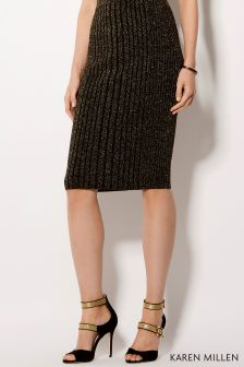 Karen Millen Gold Metallic Rib Knit Collection Skirt