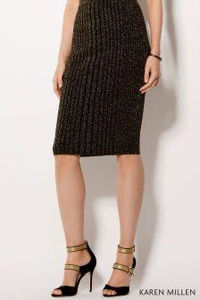 Karen Millen Gold Metallic Rib Knit Collection Skirt