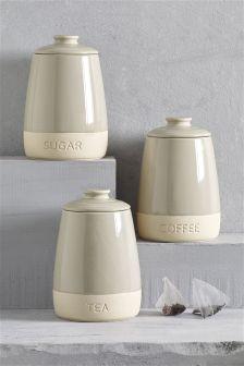 Set Of 3 Chiltern Ceramic Storage Jars