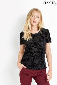 Oasis Black Velvet Burnout Short Sleeve Tee