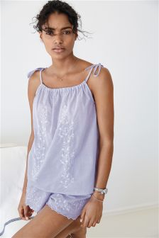 Embroidered Cotton Cami Short Set