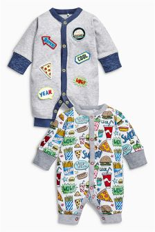 Badged Long Leg Rompers Two Pack (0mths-2yrs)