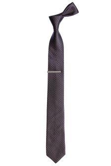Textured Stitch Design Tie With Tie Clip