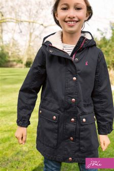 Joules Navy Wynter Faux Wax Parka