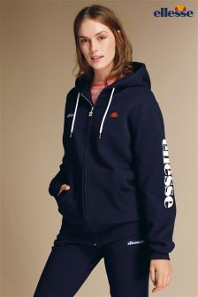 Ellesse Navy Logo Zip Through Hoody