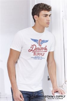 Ralph Lauren Denim & Supply White Wings Logo T-Shirt